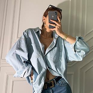 모나모 데님박시셔츠